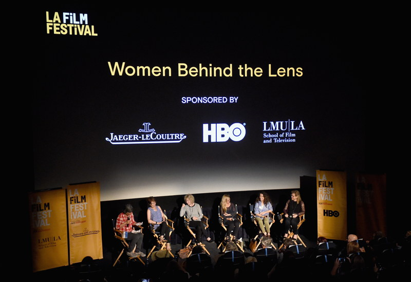 Cinematographers Patricia Lee, Maryse Alberti, Joan Churchill, Amy Vincent, Tami Reiker and Mandy Walker speak onstage at the Women Behind the Lens Panel during the 2016 Los Angeles Film Festival at Arclight Cinemas Culver City on June 4