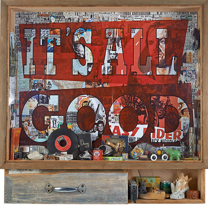 IT'S ALL GOOD Time Capsule, 2014 42 x 43 x 8 in chromogenic print mounted on plexi and floated in hand hewn driftwood capsule with drawer and iron hardware, featuring specific collected objects and ephemera from the artist's life and times