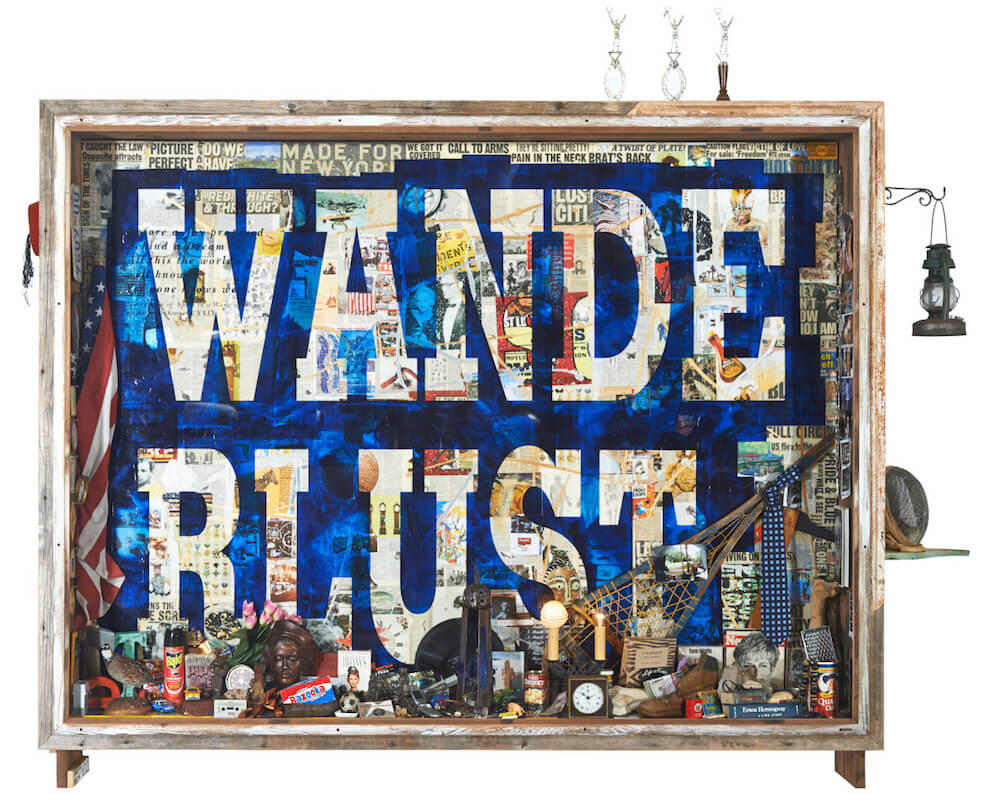 WANDERLUST Time Capsule, 2014 84 x 104 x 13 in acrylic paint and extensive collage of mixed media on canvas fixed in hand hewn driftwood capsule, featuring specific collected objects and ephemera from the artist's life and times, signed lower right by the artist in scraffito