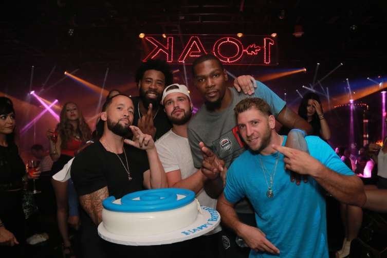 Kevin Durant and DeAndre Jordan at 1OAK Nightclub.