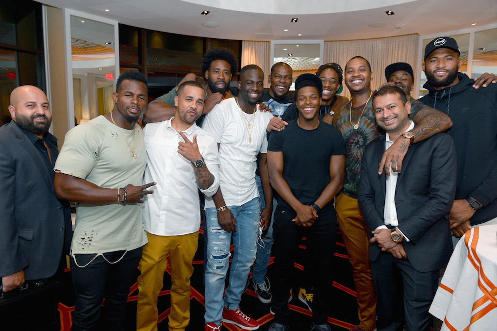 (Back row L-R) NBA players and 2016 USA Basketball Men's National Team members DeAndre Jordan, Kevin Durant, Demar DeRozan, Carmelo Anthony and DeMarcus Cousins, (Front row L-R) Director of Domestic Marketing Encore Beach Club and Surrender Nightclub Jai Shaun White, Christian Vasquez, NBA players and 2016 USA Basketball Men's National Team members Draymond Green, Kyle Lowry and Haute Living CEO and Publisher Kamal Hotchchandani attend the Team USA welcome dinner hosted by Carmelo Anthony at Lakeside at Wynn Las Vegas on July 17, 2016 in Las Vegas, Nevada.