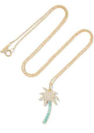 Large Palm Tree 18-karat gold, diamond and turquoise necklace, $2,250