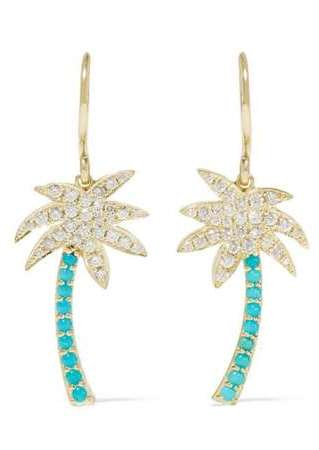 Large Palm Tree 18-karat gold, diamond and turquoise earrings, $4000