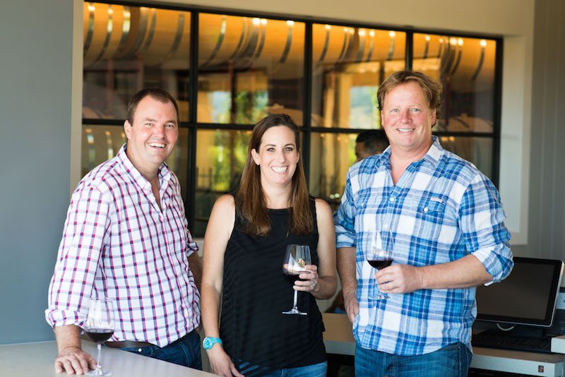 Bill Nancarrow, winemaker, Christi Coors Ficeli, owner, Neil Bason, marketing director