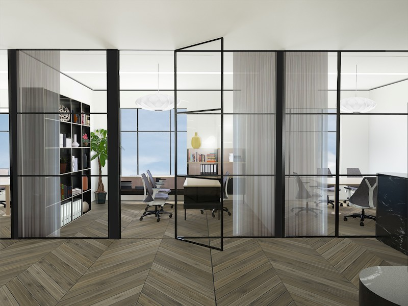 A rendering of a private office at Canopy