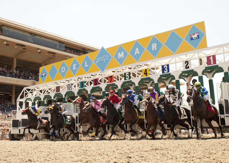 The gate fly open to kick off the 2013 Del Mar racing season
