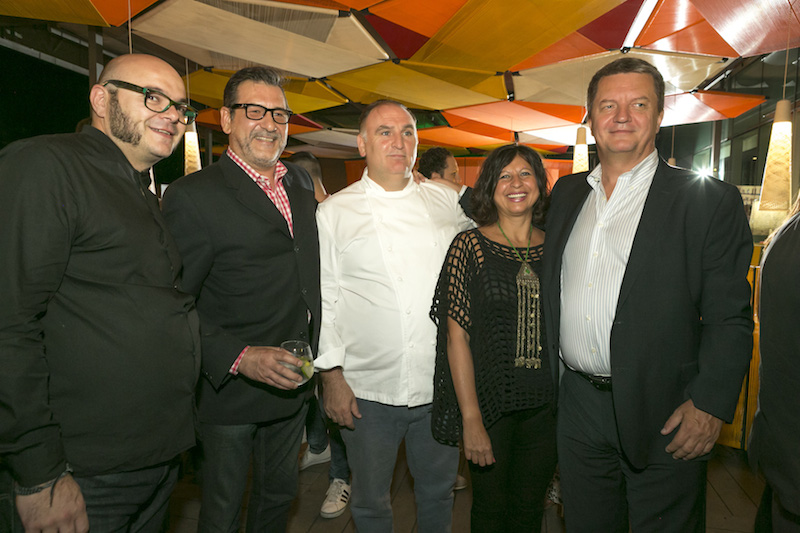 Chef José Andrés and revelers at the opening of J by José Andrés in Mexico City