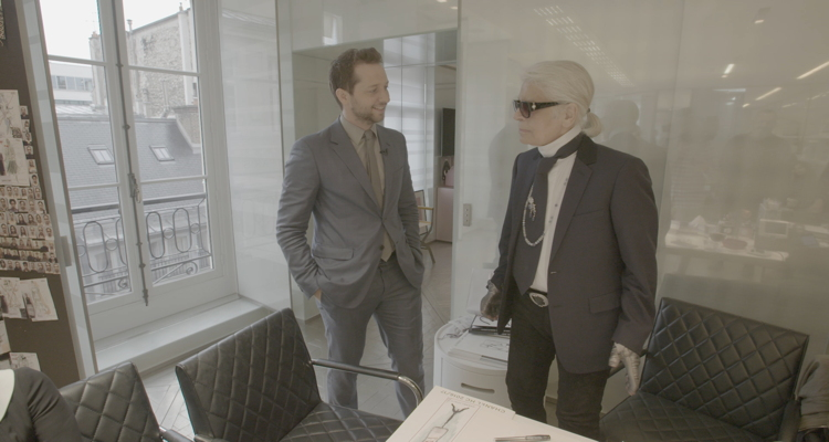 Derek Blasberg of CNN Style with Karl Lagerfeld