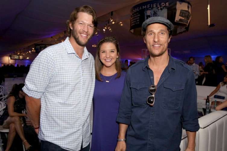 MLB player Clayton Kershaw, of the Los Angeles Dodgers, from left, Ellen Kershaw and Matthew McConaughey attend the Los Angeles Dodgers Foundation Blue Diamond Gala