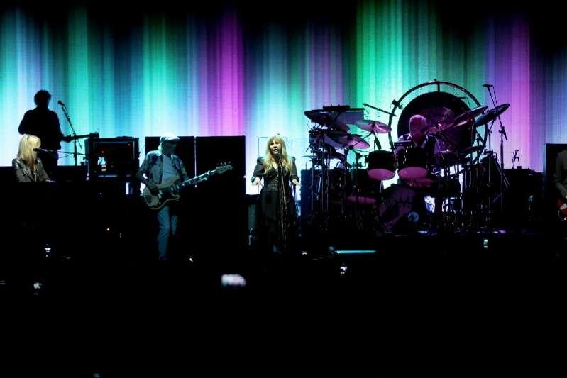 Christine McVie, John McVie, Stevie Nicks, Mick Fleetwood, and Lindsey Buckingham of Fleetwood Mac perform at the Los Angeles Dodgers Foundation Blue Diamond Gala