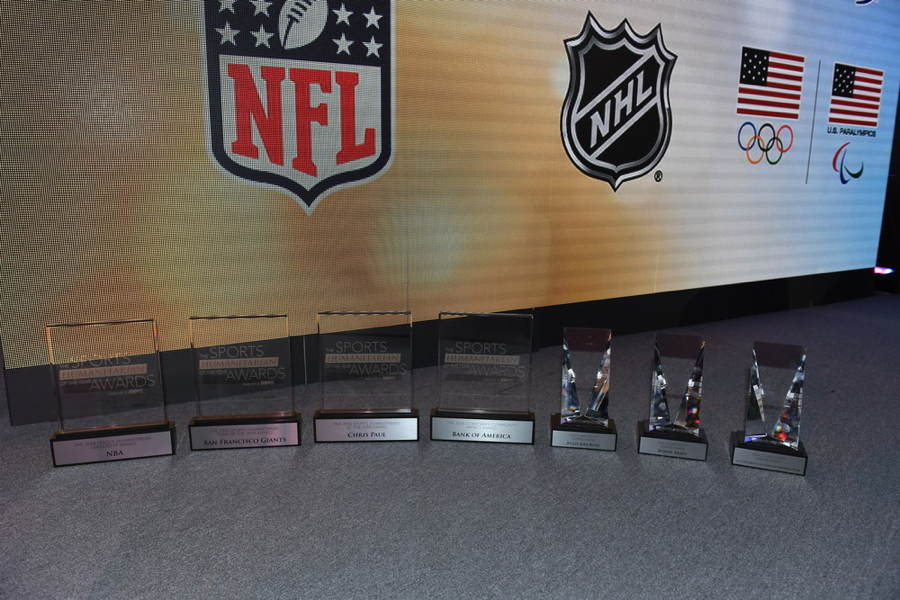 The trophies during The Sports Humanitarian Awards presented by ESPN