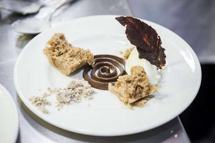 """3D Boscana"": Nocilla, Chocolate Cream, Hazelnut Polvoron, Milk Ice Cream, Dutch Chocolate Leaves, 3D-printed centre spiral"