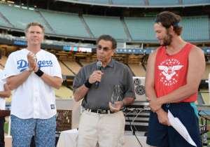 Host Will Ferrell, Inaugural Kershaw's Challenge Impact Award Honoree Dennis Gilbert and Clayton Kershaw