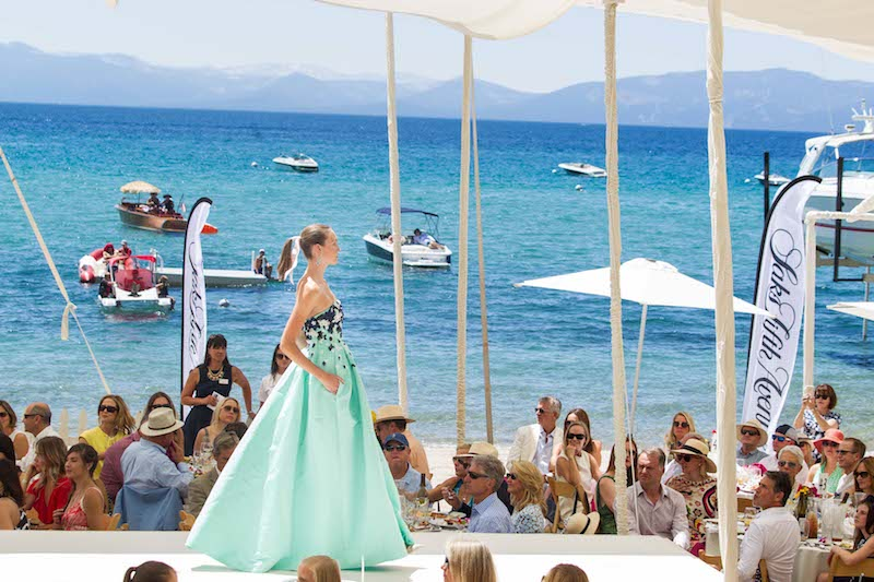 A model struts her stuff at the Oscar de la Renta fashion show at Lake Tahoe