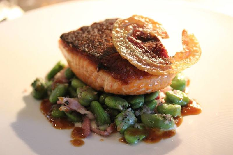 A salmon and fava bean preparation from the Grill