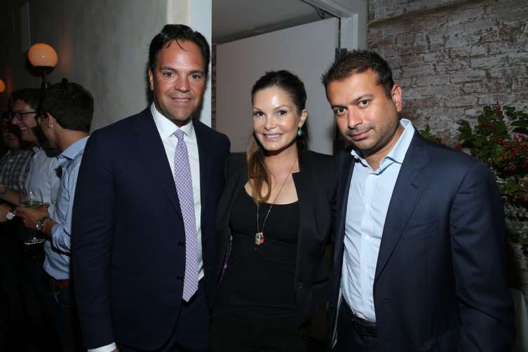 NEW YORK, NY - JULY 31: (L-R) Mike Piazza, Alicia Rickter and Kamal Hotchandani attend 'Haute Living Honors Mike Piazza' dinner event presented by Johnnie Walker Blue Label and JetSmarter at Mamo on July 31, 2016 in New York City. (Photo by Rob Kim/Getty Images)