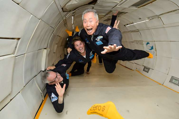 Brad Altman, Rod Roddenberry and George Takei go weightless.