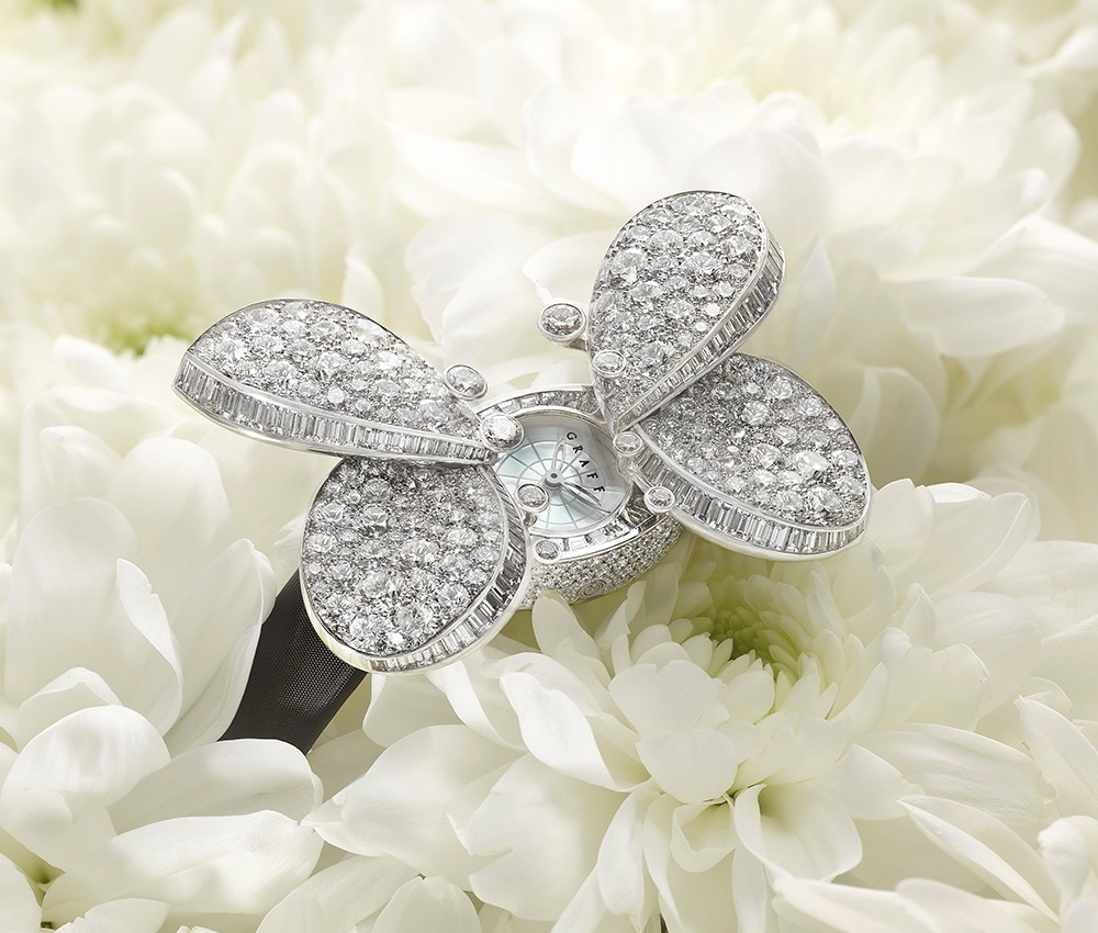 The Princess Butterfly watch is a secret watch whose diamond wings separate to reveal a watch dial beneath. The butterfly is set with 380 diamonds weighing 14.5 carats