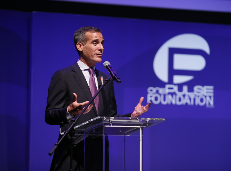 Los Angeles Mayor Eric Garcetti speaks at onePULSE: A Benefit