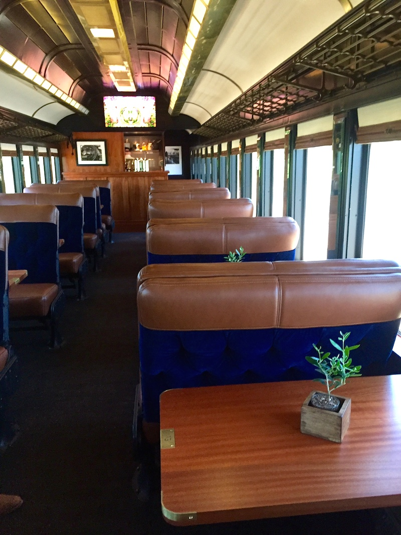 The inside of the refurbished vintage train car