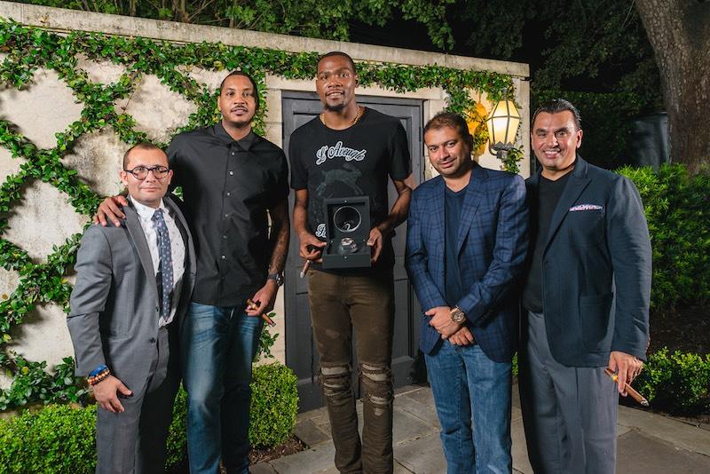 Ruben Lizaola, Carmelo Anthony, Kevin Durant, Kamal Hotchandani and Devinder Bhatia