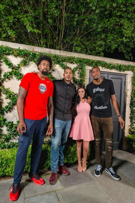 Deandre Jordan, Carmelo Anthony, Amanda Monti and Kevin Durant