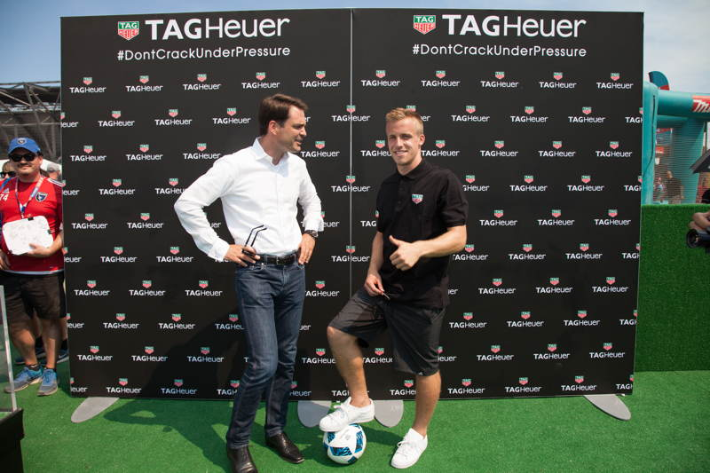 President of Tag Heuer North America Kilian Muller (L) chats with San Jose Earthquakes player Tommy Thompson (R) before the MLS All-Star Game at Avaya Stadium on July 28, 2016 in San Jose