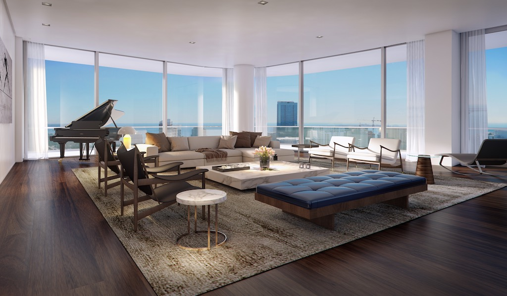 Penthouse Residences Living Room SLS LUX Brickell