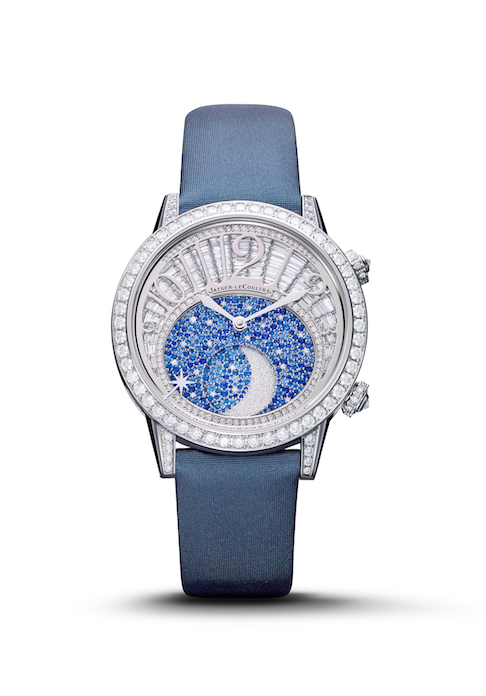 Rendez-Vous Moon watch in 18-karat white gold is set with 639 sapphires and 276 diamonds for a total of 4.86 carats.