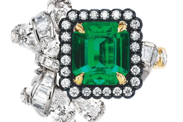 """The Dior à Versailles """"Acanthe Émeraude"""" ring with emerald and diamonds in white, yellow and pink gold and darkened silver. Items available at select Dior boutiques. (800) 929-DIOR"""