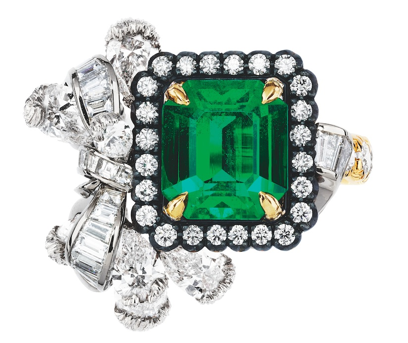 "The Dior à Versailles ""Acanthe Émeraude"" ring with emerald and diamonds in white, yellow and pink gold and darkened silver. Items available at select Dior boutiques. (800) 929-DIOR"