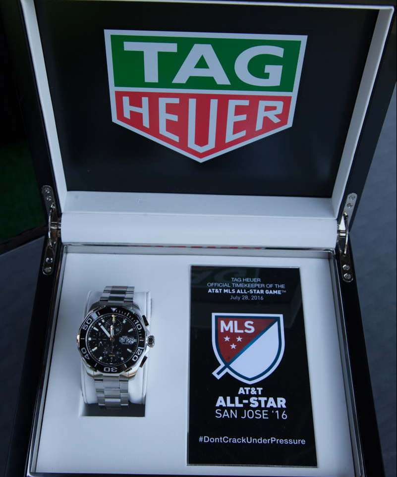 Detail of the Tag Heuer Aquaracer 300m at Avaya Stadium