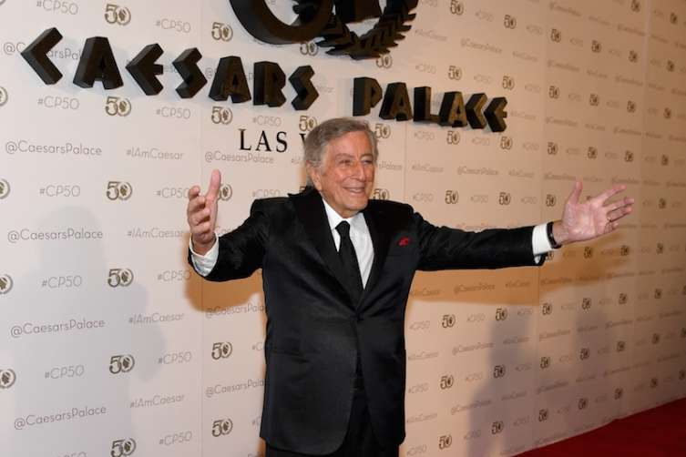Tony Bennett arrives on the red carpet to celebrate the 50th anniversary of Caesars Palace.