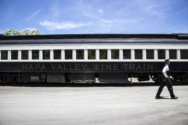 The exterior of the new Napa Wine Train