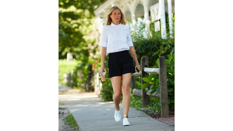 Gwyneth Paltrow wearing her Goop x M. Gemi collaboration