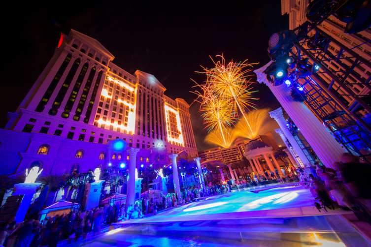 Fireworks over Caesars Palace celebrate the resort's 50th anniversary.