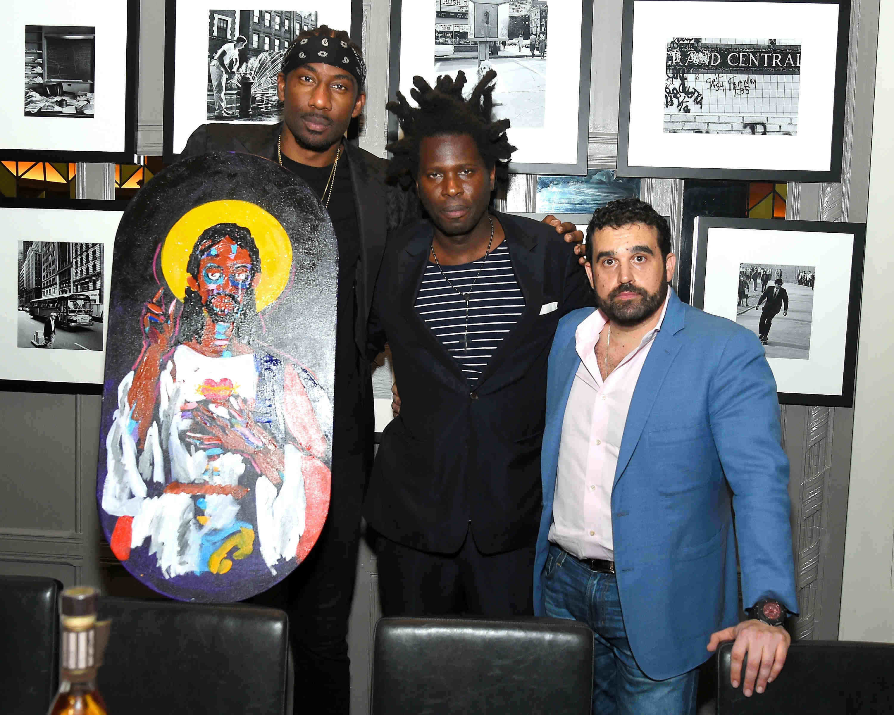 AmarÕe Stoudemire, artist Bradley Theodore and Seth Semilof attend Haute Time Celebrates Amar'e Stoudemire presented By Avion Reserva 44 at American Cut in New York City.
