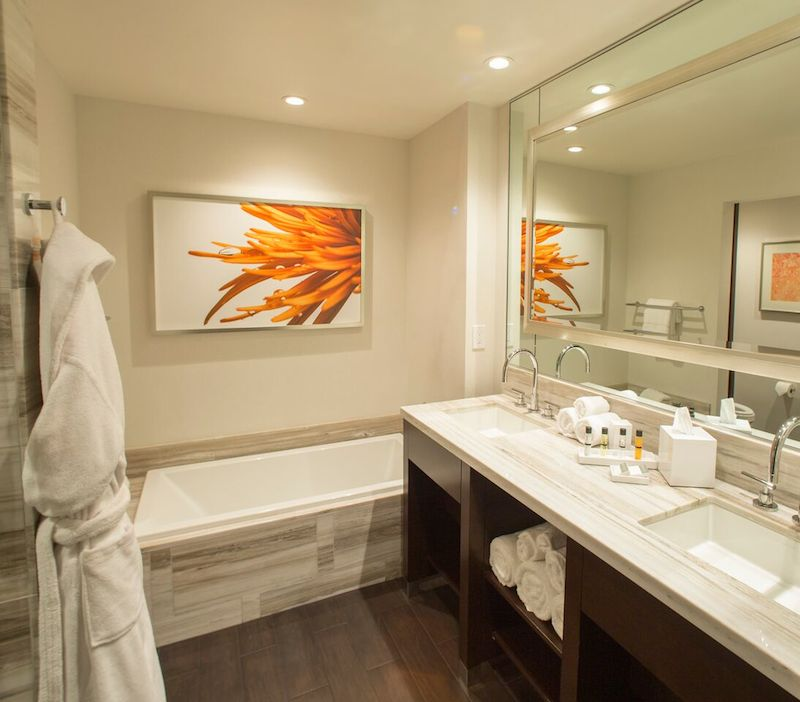 A bathroom at the Graton's new hotel