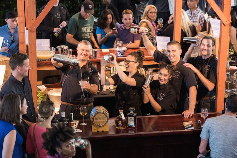 H. Joseph Ehrmann shakes cocktails with his team from Elixir at the 2015 festival