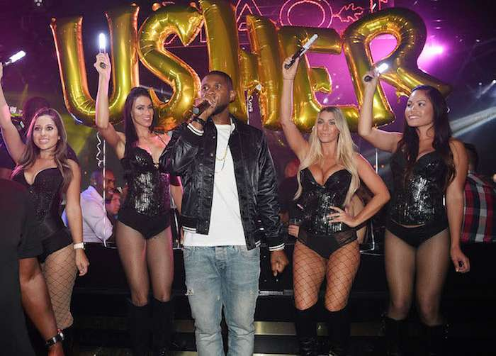 Usher attends his official album release party at 1 OAK Las Vegas at the Mirage.