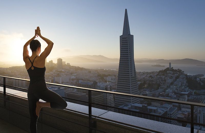 Sky deck yoga at the Loews Regency
