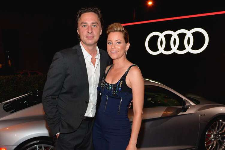 Zach Braff (L) and Elizabeth Banks attend the Audi Celebrates The 68th Emmys at Catch LA