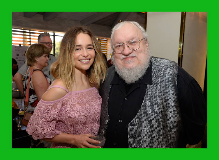 Emilia Clarke (L) and writer George R. R. Martin attend the BBC America BAFTA Los Angeles TV Tea Party 2016 at The London