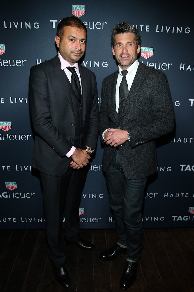 MALIBU, CA - SEPTEMBER 20: (L-R) Kamal Hotchandani and Patrick Dempsey attend the Haute Living Cover Launch With Patrick Dempsey And Tag Heuer At Nobu Malibu at Nobu Malibu on September 20, 2016 in Malibu, California. (Photo by Jonathan Leibson/Getty Images for Haute Living)