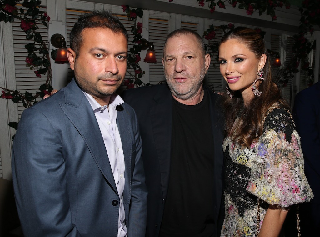 NEW YORK, NY - SEPTEMBER 27: (L-R) Haute Living's CEO and Publisher Kamal Hotchandani, Harvey Weinstein and Georgina Chapman attend the Haute Living Celebrates Georgina Chapman with Perrier-Jouet and JetSmarter event at Socialista New York on September 27, 2016 in New York City. (Photo by Rob Kim/Getty Images for Haute Living)