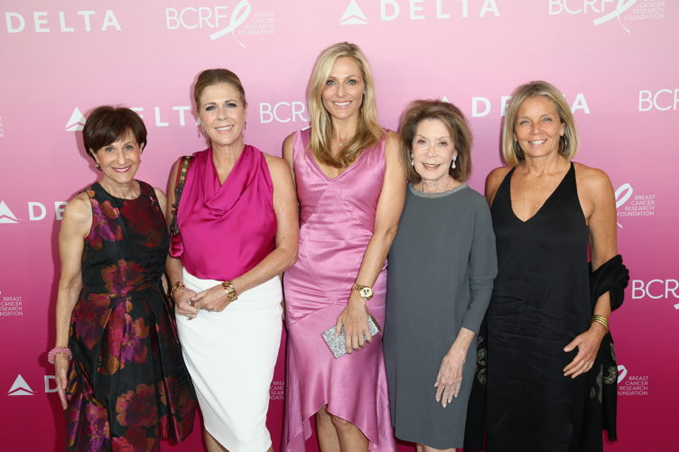 (L-R) President of the Breast Cancer Research Foundation Myra J. Biblowit, actress Rita Wilson, Jamie Tisch, Marion Laurie and Kelly Chapman-Meyer