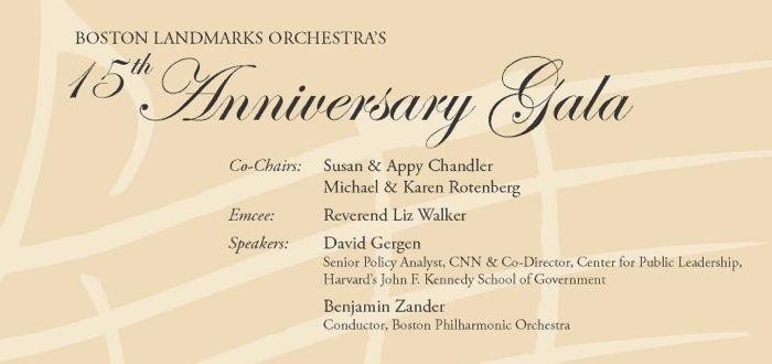Boston Landmarks Orchestra Gala, October 1, 2016, Mandarin Oriental Hotel, 776 Boylston Street, Boston, MA