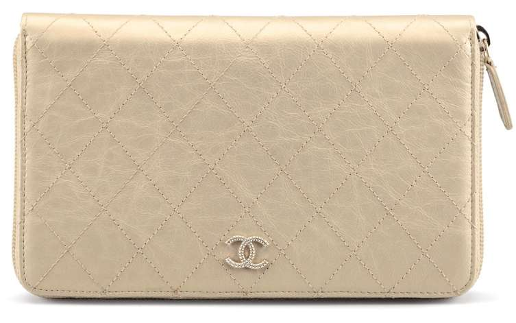 RE CHANEL A GOLD QUILTED LEATHER CC ZIP WALLET