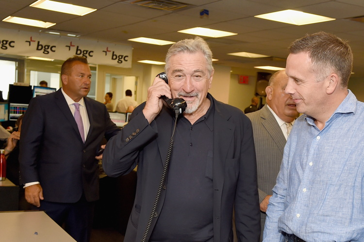 NEW YORK, NY - SEPTEMBER 12: Actor Robert De Niro (C) attends Annual Charity Day hosted by Cantor Fitzgerald, BGC and GFI at BGC Partners, INC on September 12, 2016 in New York City. (Photo by Theo Wargo/Getty Images for Cantor Fitzgerald)