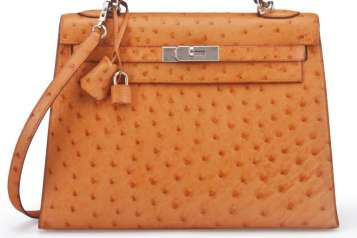 RE TANGERINE OSTRICH SELLIER KELLY 32 BAG